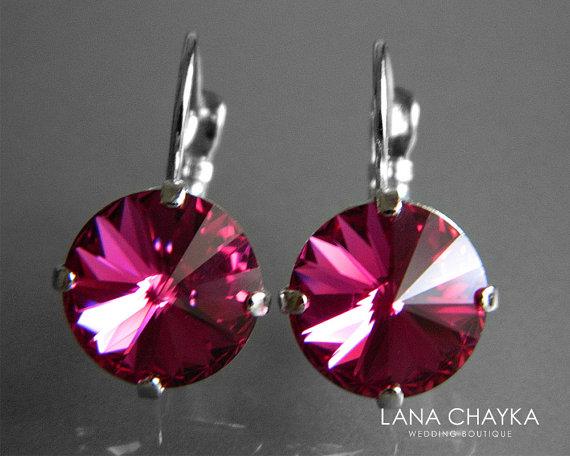 88b8378b0 Fuchsia Crystal Earrings Swarovski Fuchsia Hot Pink Rivoli Silver Earrings  Dark Pink Crystal Leverback Weddings Hypoallergenic Earrings