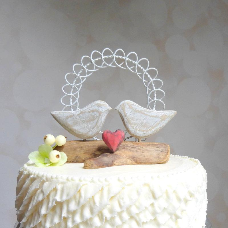 Rustic Bird Wedding Cake Toppers