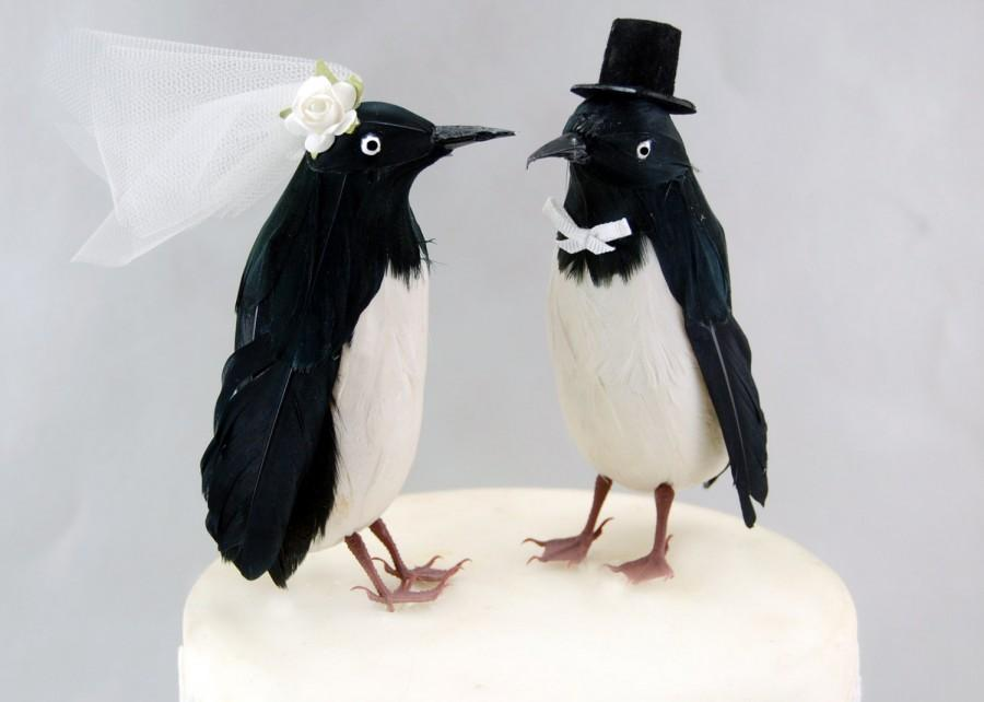 Wedding - Christmas in July SALE! Top Hat Penguin Wedding Cake Topper: Funny, Bride & Groom Love Bird Cake Topper -- LoveNesting Cake Toppers
