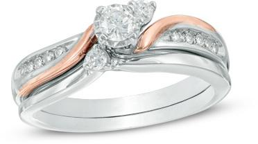 5c3f6d02e 1/3 CT. T.W. Diamond Three Stone Slant Bridal Set in 10K Two-Tone Gold