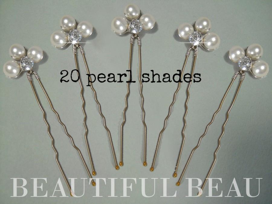 Mariage - Pearl Hair Pins, Bridal Wedding Hair Pins, Pearl Diamante Hair Pins, Bridesmaid Hair Pins, Wedding Hair Accessory, Hair Grips PEARL GLAMOUR