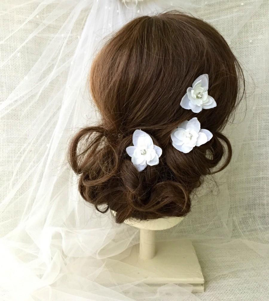 White Flower Bridal Hair Pins Wedding Hair Accessory Rhinestone