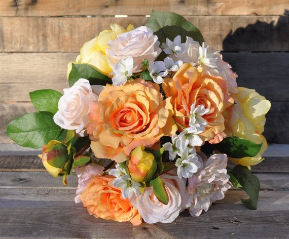Wedding Bouquet Bridal Bouquet Yellow Peony And Orange Rose