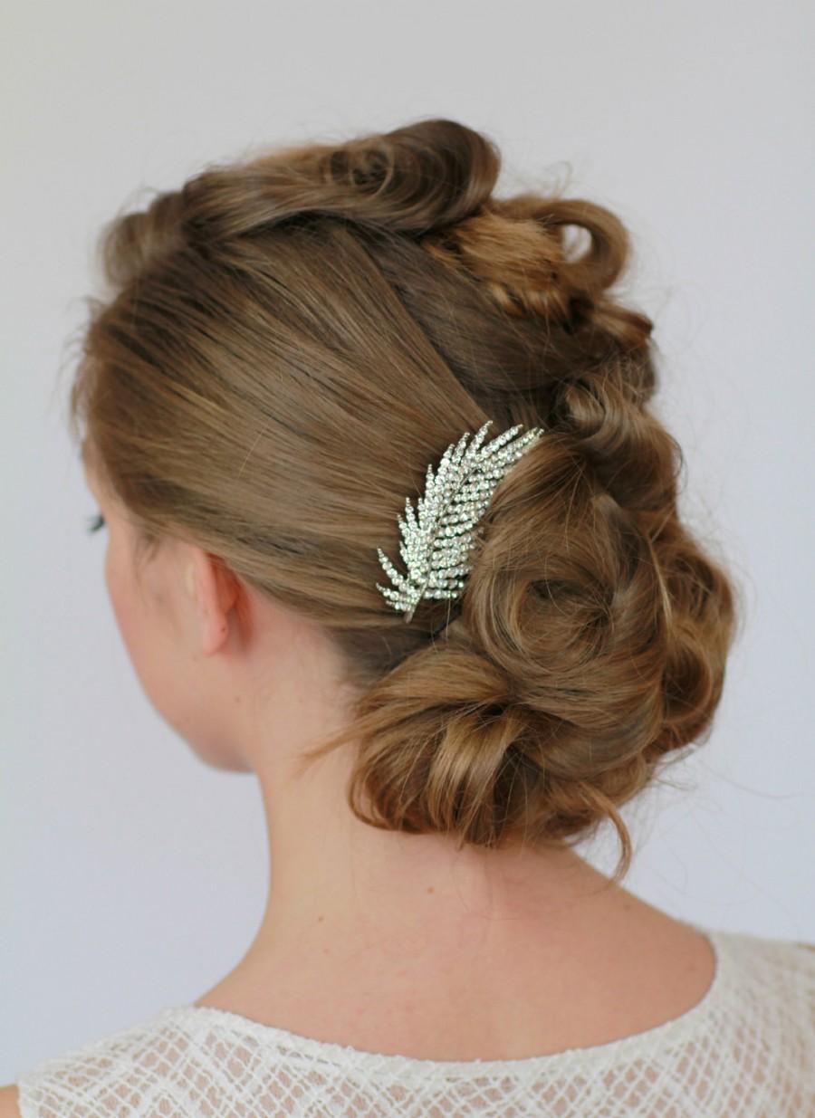 Свадьба - Crystal Leaf Hair Comb, Rhinestone Leaves Bridal Hairpiece , Encrusted Crystal Bridal Hair Comb , Sparkle Comb, Wedding Hair Accessories