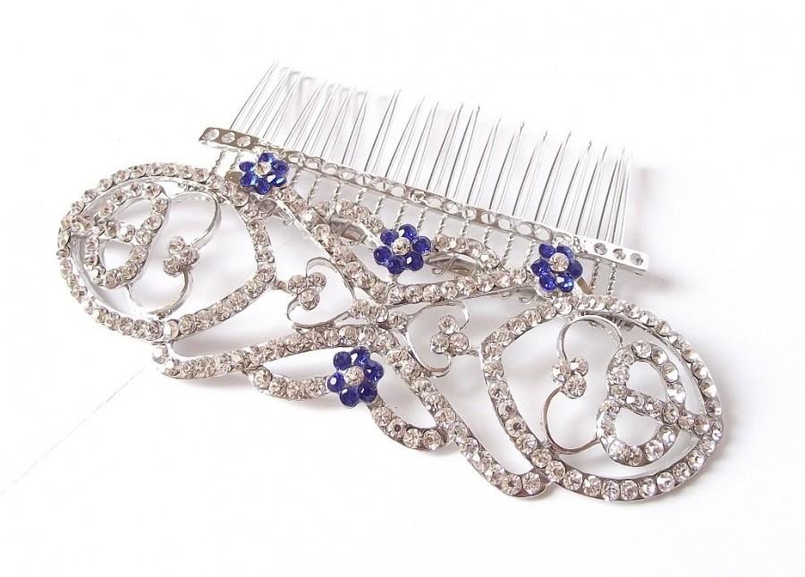 Свадьба - SALE - Blue crystal wedding hair comb, bridal veil hair comb, wedding hair piece, bridal veil comb, bridal hair comb, Bella's hair comb