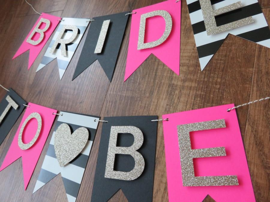 kate spade party theme bride to be banner pink gold black white decorations bridal shower banner