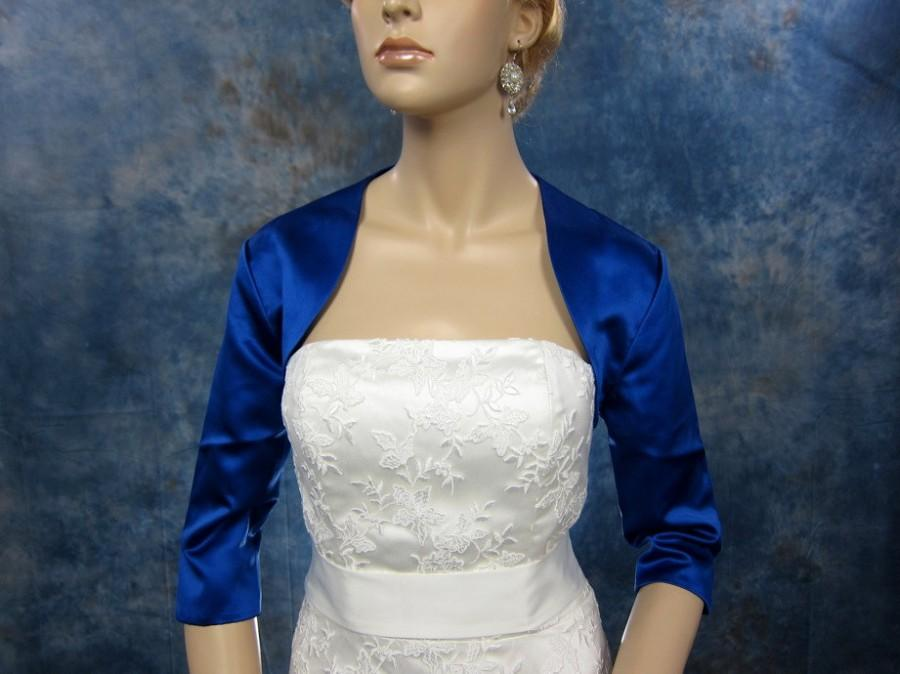 Mariage - Blue 3/4 sleeve satin wedding bolero jacket shrug