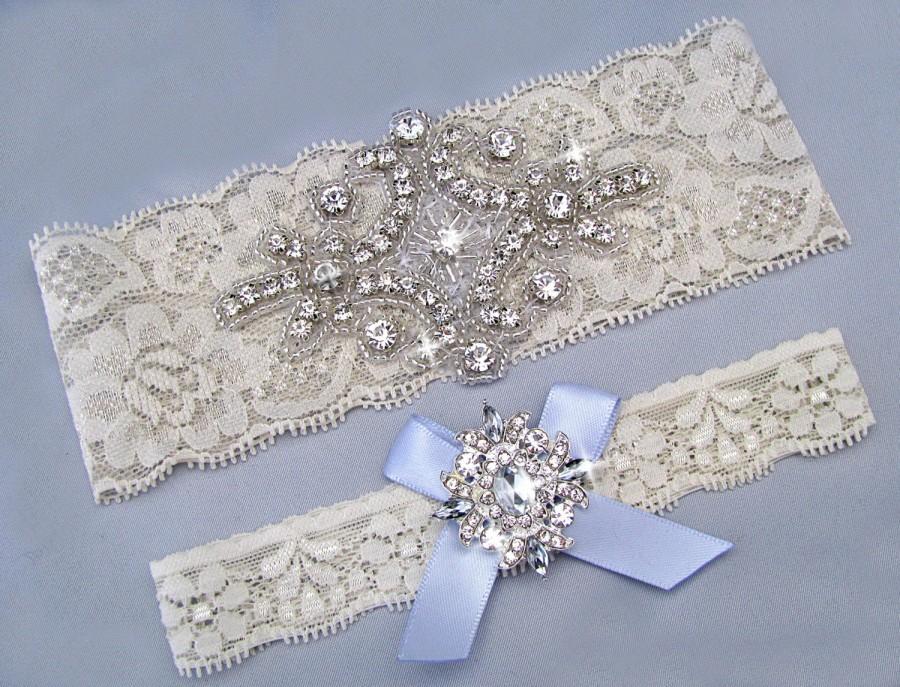 Hochzeit - Wedding Garter, Ivory / Off White Bridal Garter Set, Something Blue Garter, Lace Bridal Garter, Crystal Rhinestone Keepsake / Toss Garters