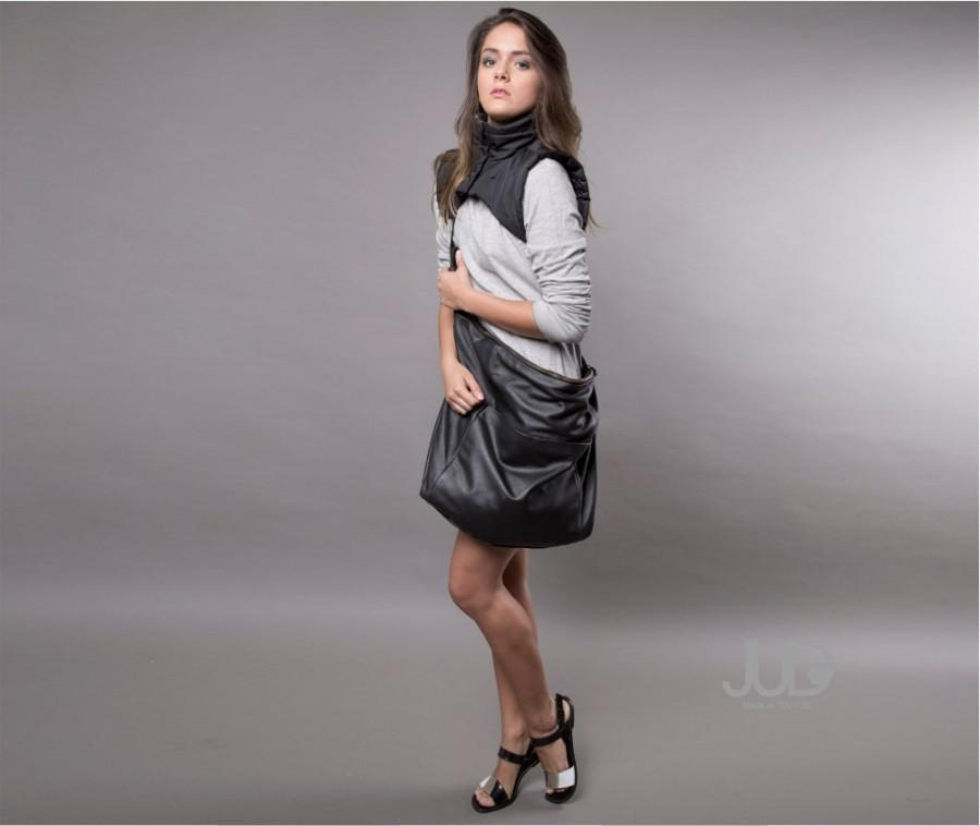 Black Leather Bag - Hobo Bag SALE Crossbody Bag - Shoulder Bag ...