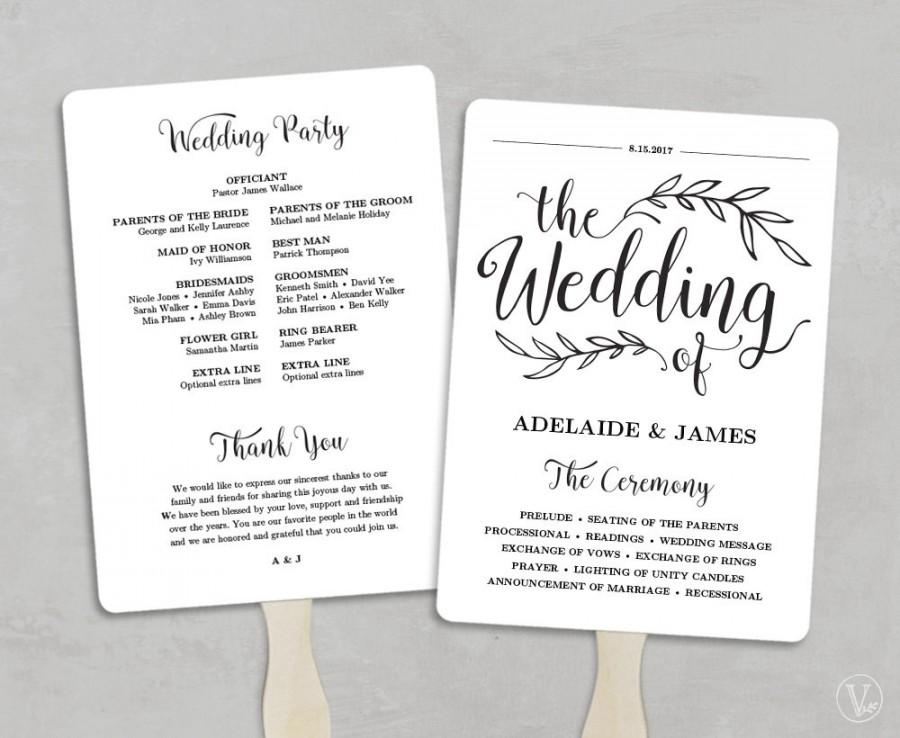 Printable Wedding Program Template Fan Wedding Program Kraft Paper