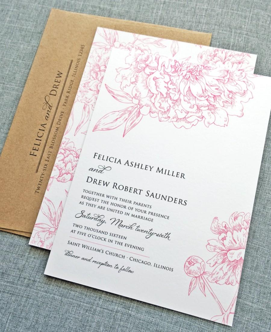 زفاف - Felicia Pink Peony Flower Wedding Invitation Sample - Recycled Kraft Envelope, Rustic Floral Wedding Invitation