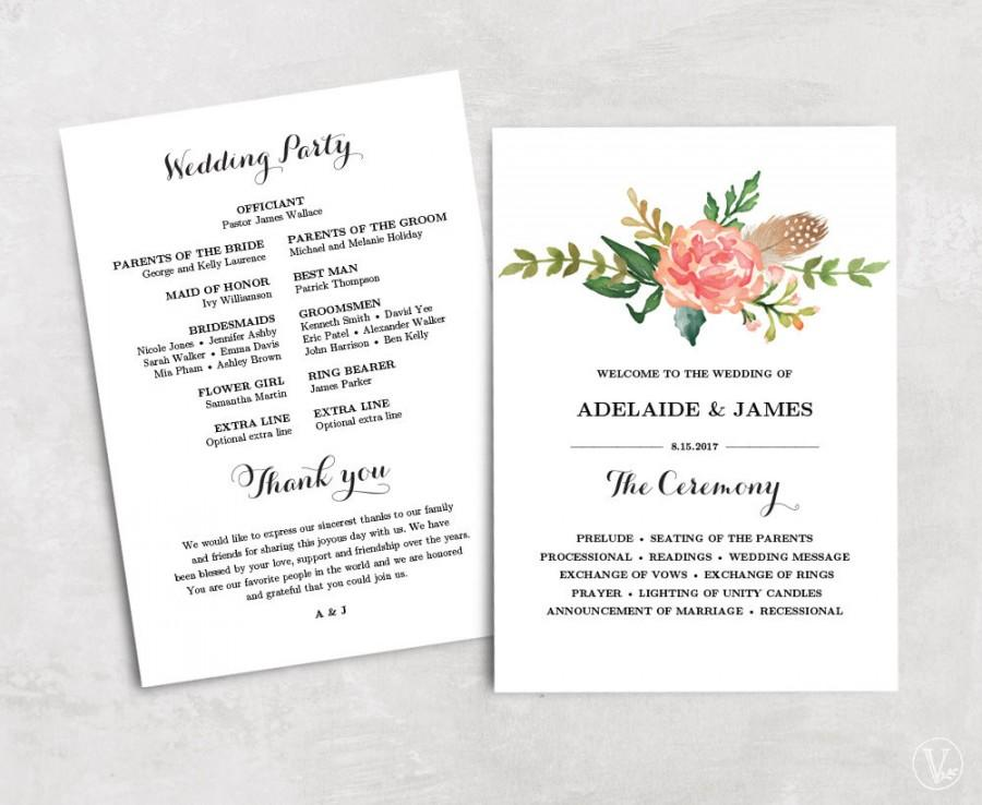 Floral Wedding Program Template Printable Wedding Programs - 5x7 wedding program template