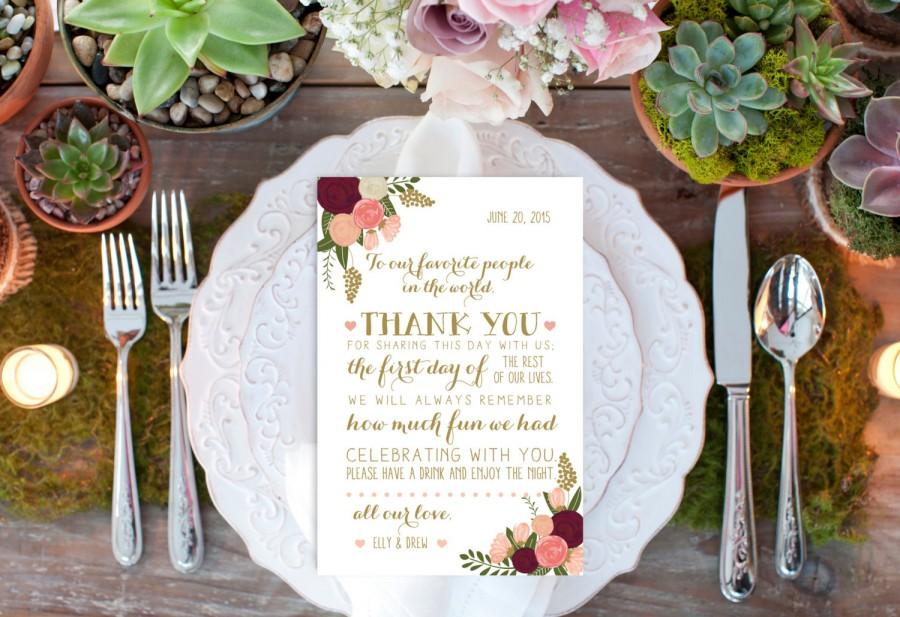 Printable Custom Thank You Reception Card Reception Decor