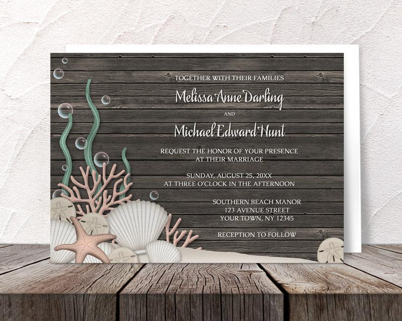 Rustic Wood Beach Wedding Invitations And RSVP