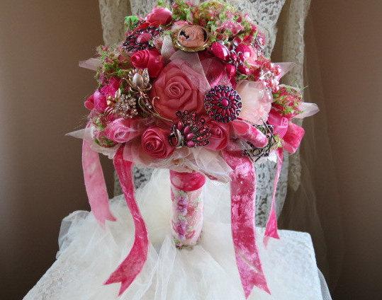Mariage - Shabby Chic Peach Salmon Brooch Bouquet Lace Satin Roses 1940s Vintage Velvet  Victorian Alternative Wedding Crystal Rhinestone Romantic