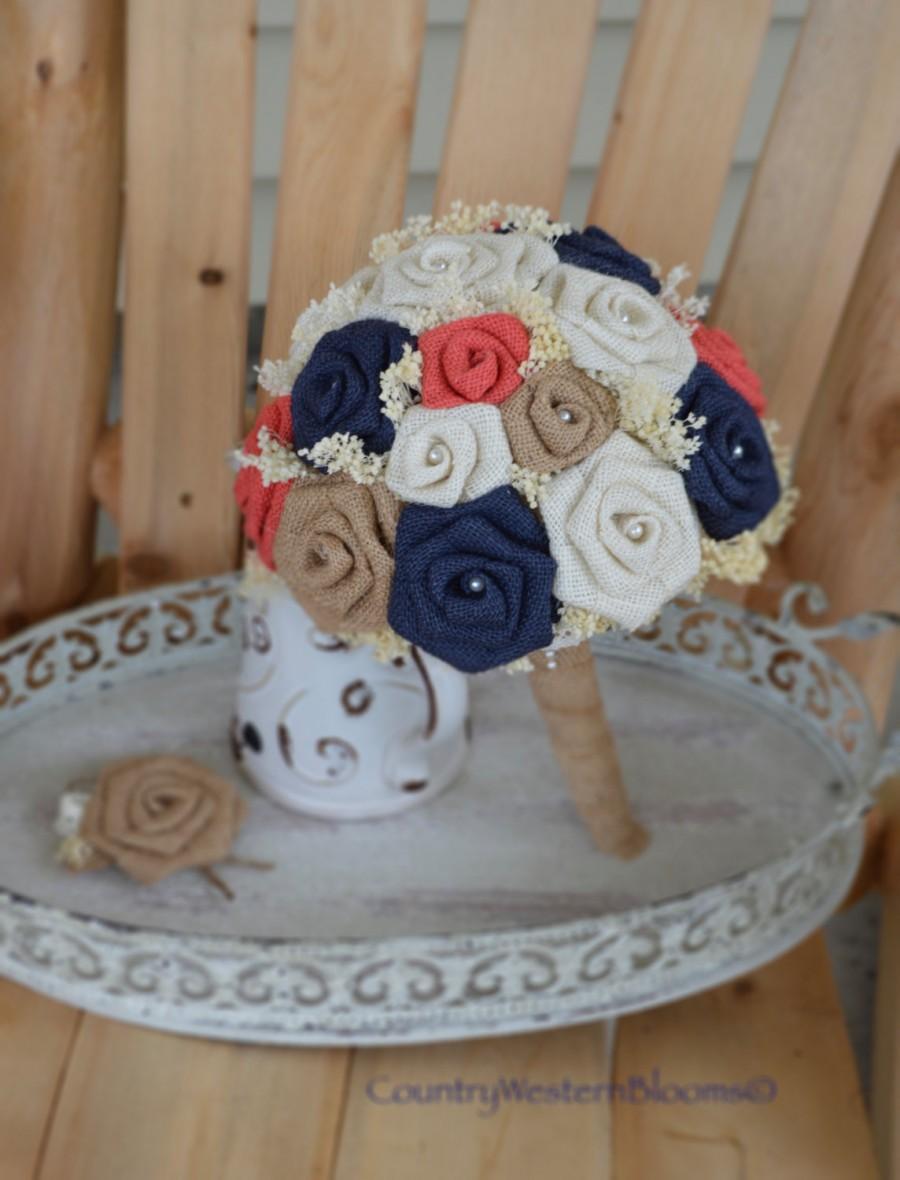 Wedding - READY TO SHIP- Navy Burlap Bouquet, Coral Burlap Bouquet, Coral Bouquet, Burlap Bouquet, Navy Rustic Bouquet, Bride Bouquet, Wedding Bouquet