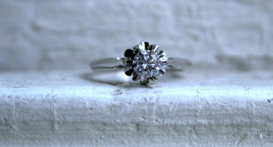 Hochzeit - Antique Platinum Solitaire Diamond Engagement Ring - 0.50ct.
