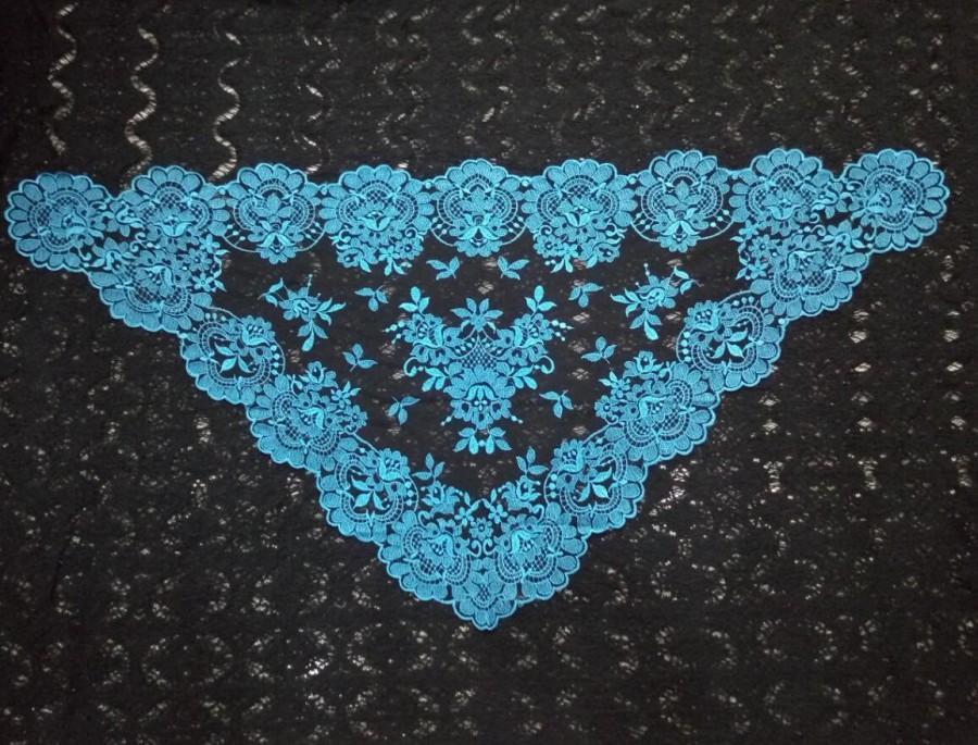 Blue Spanish Style Veil Mantilla ,Catholic Church Chapel Scarf Lace
