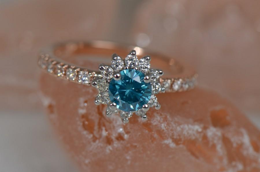 diamond blue with engagement rose ring