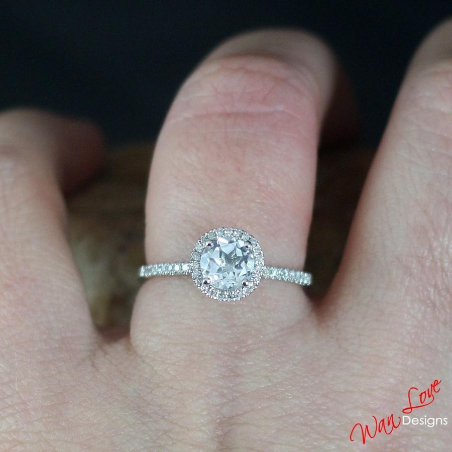 White Topaz & Diamond Round Halo Engagement Ring 1ct 6mmcustom Madeweddinganniversary14k  18k White Yellow Rose Goldplatinum Natural