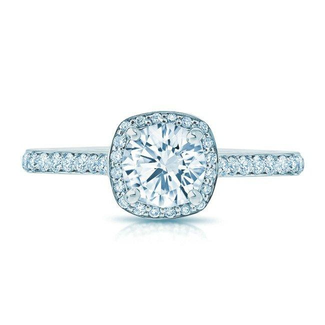Hochzeit - 1 carat Forever One Moissanite & Diamond Cushion Halo Ring - Moissanite Engagement Rings for Women - Diamond Halo Rings - Fine Jewelry Gifts