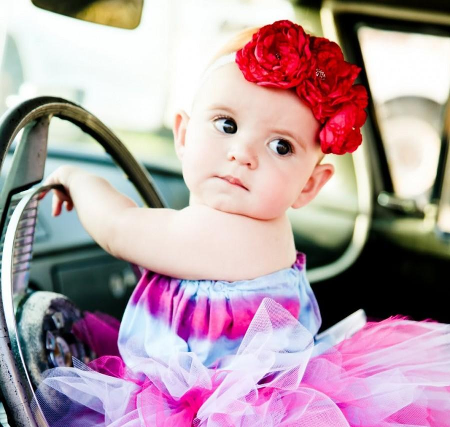Свадьба - Baby Pink Flower Headband STELLA  Hot Pink Girls Fabric Flower Trio Headband