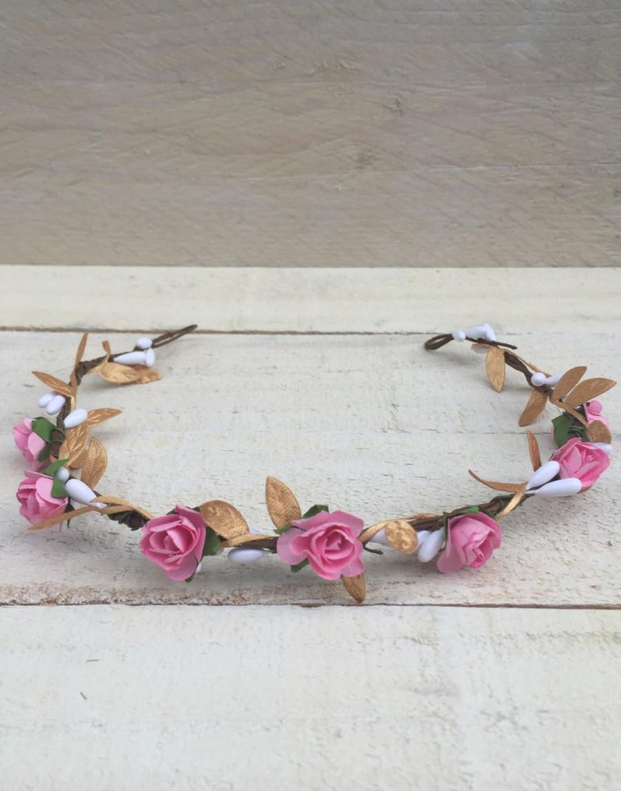 Wedding - Pink Gold Flower Crowns, Hair wreaths, Floral Crown, Bridesmaid, Newborn Crowns, Floral Headpieces, Floral Headdress, Bridal Crowns