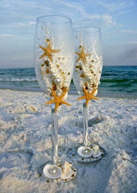Starfish Wedding Champagne Gles Beach Toasting Flutes In Ivory Destination Reception