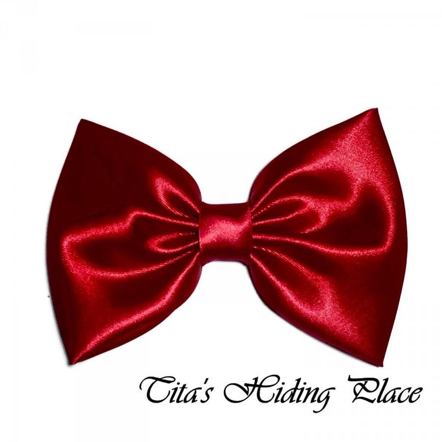زفاف - Red Hair Bow, Satin Hair Bow Clip, Bows For Women, Kawaii Bows, Handmade Bow, Satin Fabric Bow, Lolita, Big Bow, Baby Girl Bow, 035