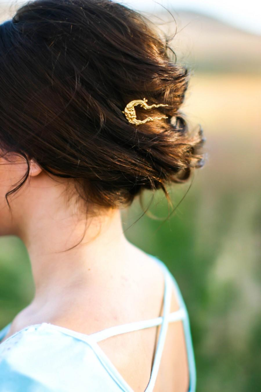 Mariage - Moon Hair Pin Old Man in the Moon Hair Pin Crescent Moon Hair Clip Moon Face Bobby Pins Celestial Hair Accessories Festival Hair Barrette