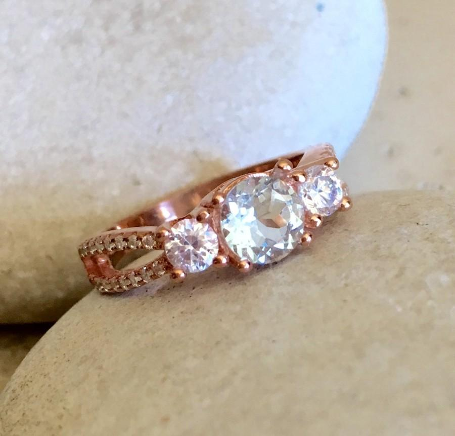 Aquamarine Rose Gold Ring Etsy