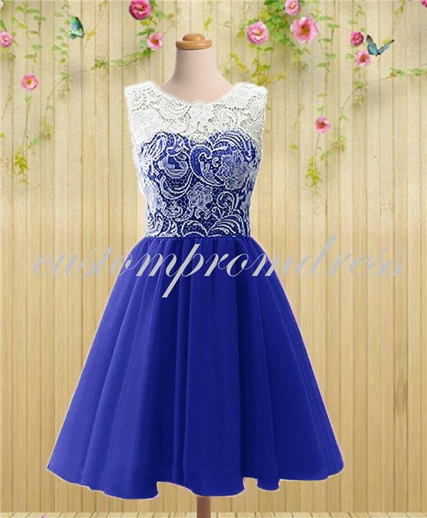 White ivory prom dresses discount evening dresses for Royal blue short wedding dresses