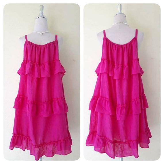 Mariage - Beautiful Dark Pink/bohemian Women /Summer Dresses/Dress In Layers/comfortable/Plus Size XS - 5XXL