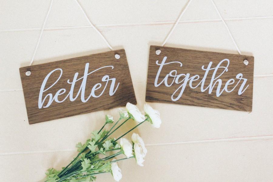 زفاف - Better Together Sign, Rustic Wooden Wedding Signs, Wedding Chair Signs. Wedding Decor, Boho Wedding, Photo Prop Signs, Bridal Gift.