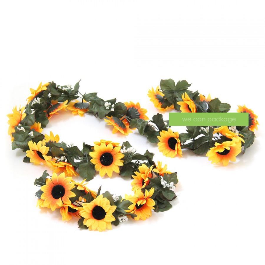 Hochzeit - Artificial Sunflower Garland - Boho Chic Decor - Festival Vibe