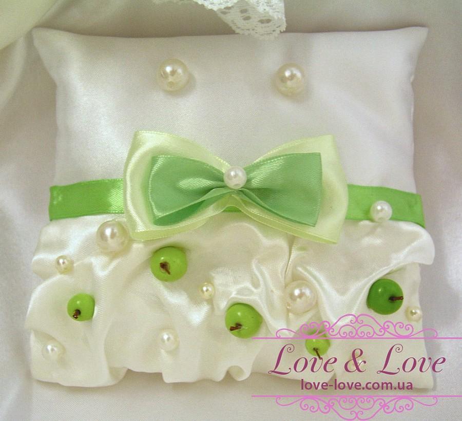 Mariage - Apple wedding pillow - Green Wedding ring bearer - Ring pillow bearer - Burlap ring pillow - Ring pillow