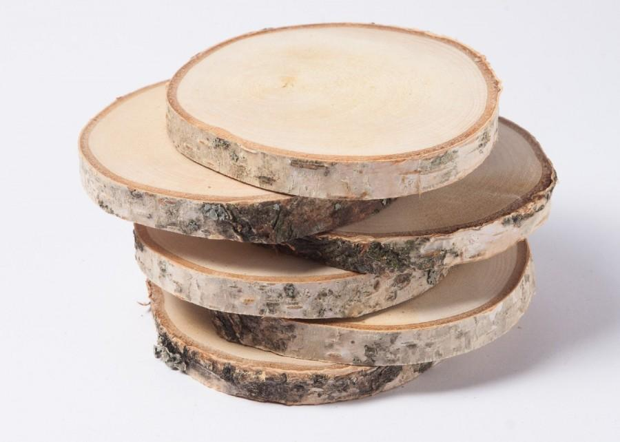 "زفاف - 10 birch slices  2""- 3"" , wooden slices, rustic wedding decoration, wood coasters,  wood discs for home decors"