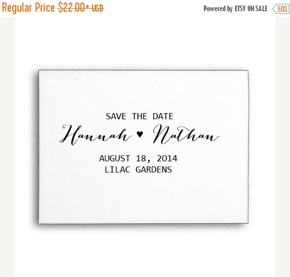 Wedding - SUMMER SALE Custom Wedding Stamp Personalised Calligraphy Stamp Save The Date Stamp Wood Handle or Self Inking