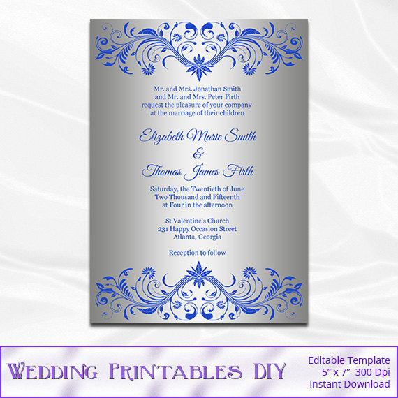 Royal Blue And Silver Wedding Invitation Template Diy Silver Foil