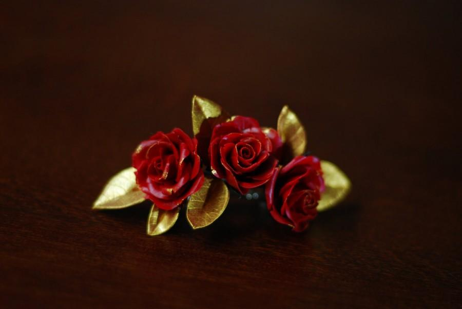 Gold Hair Accessory Wedding Clip Red Rose Piece High Fashion Leaf And Flower