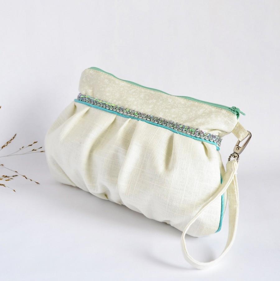 Hochzeit - Makeup Bag Pleated Wristlet Pouch Clutch Laces Stripe Ivory Pastel Bridesmaid Gift Linen Cotton