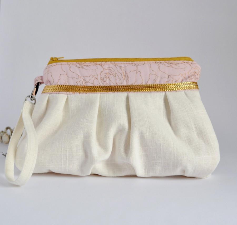 Hochzeit - Pleated Wristlet Pouch Clutch Ivory Pink Gold Beige Floral Bridesmaid Gift Linen Cotton