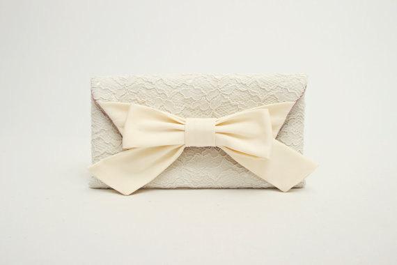 Hochzeit - SALE ,Bridal clutch ,wedding clutch , Ivory  clutch, bridesmaid clutch ,envelop clutch,Evening bag,bridesmaid gift ,lace clutch