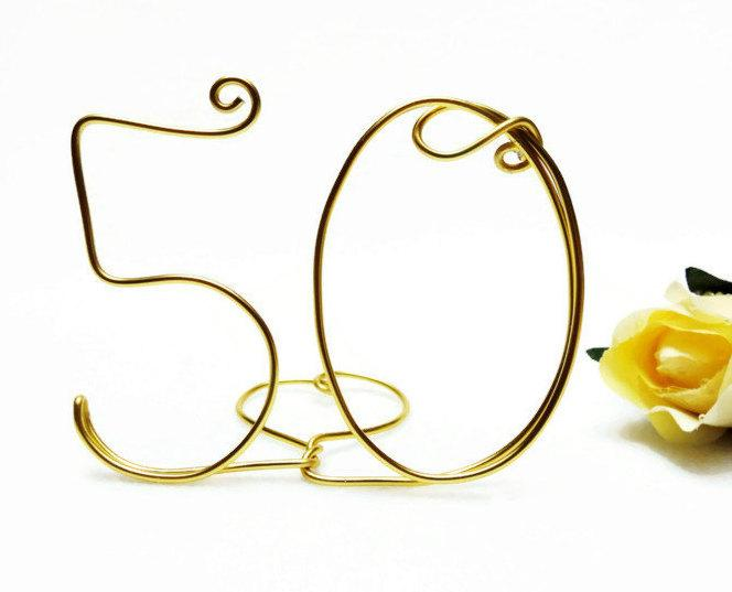 Wedding - 50th Anniversary/ Birthday Wire Cake Topper Gold, Brown, Black, Red, Silver