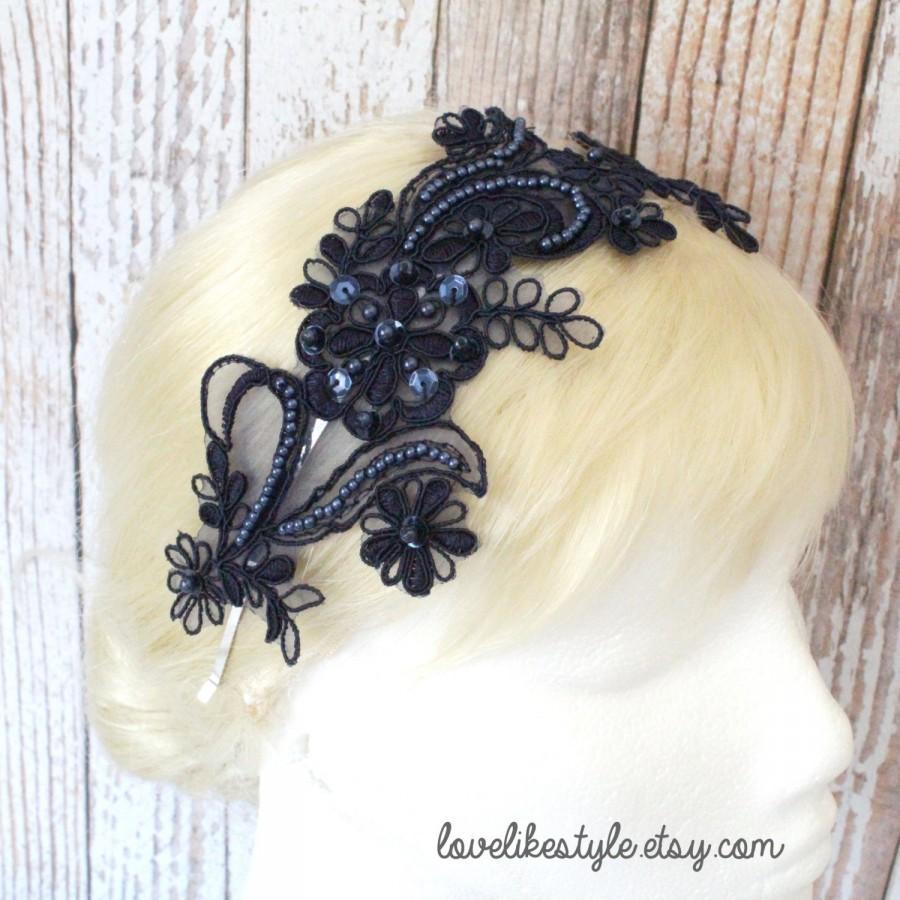 Hochzeit - Navy Beading Lace Headband / Bridal Navy Headband, Navy Lace Head Piece