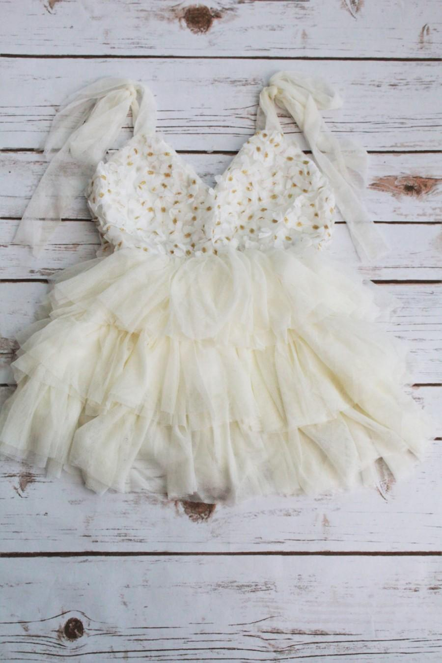 Boda - Ivory Tutu Boho Girl  Dress- BOho Lace Flower Girl-Beige Lace Birthday Gils