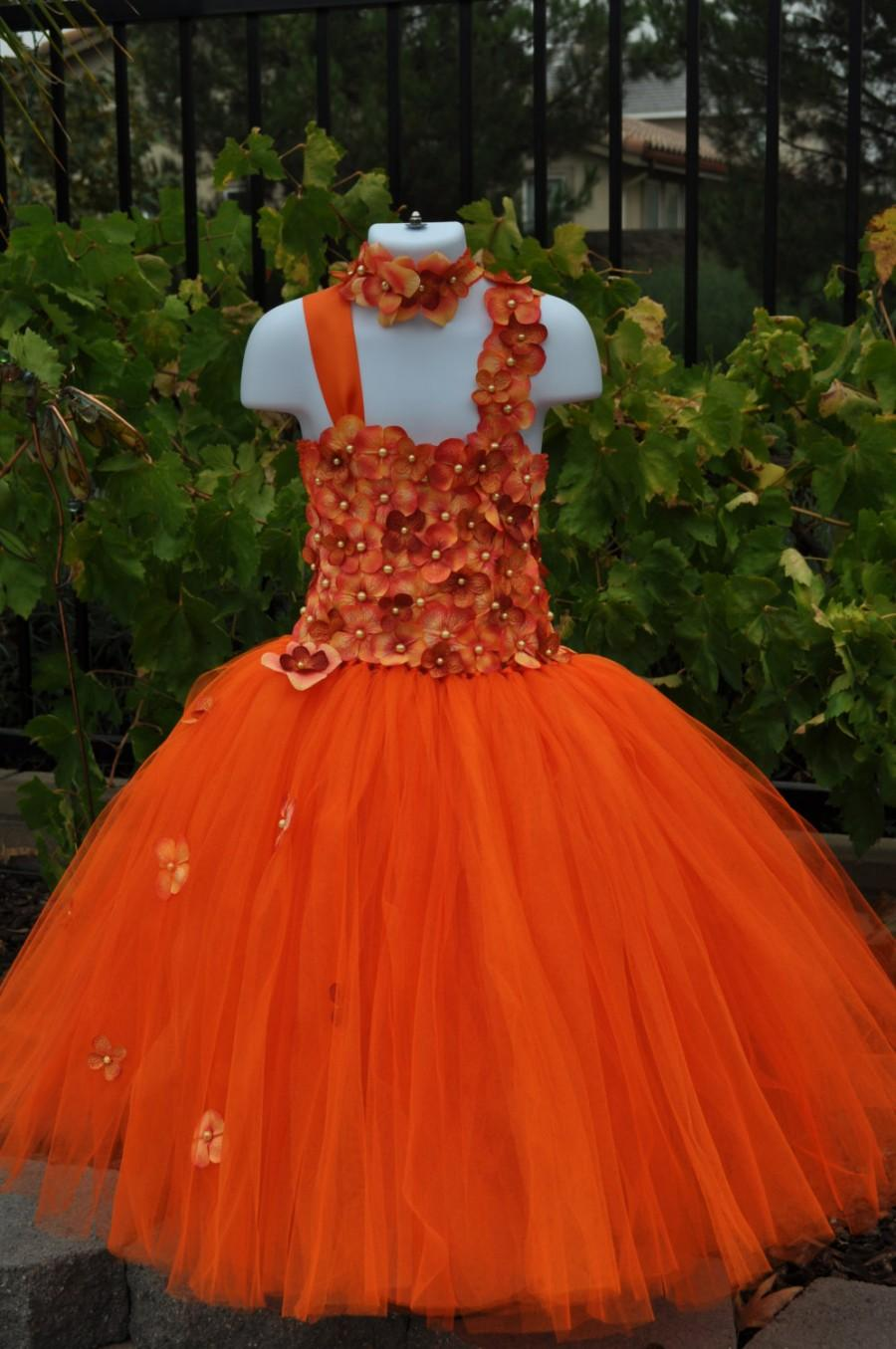 Orange Dress, Special Occasion Dress, Orange Flower Girl Dress ...