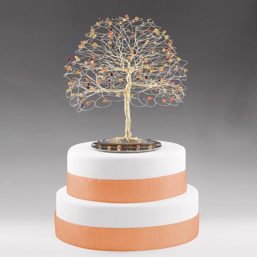 Mariage - Fall Tree Cake Topper with Swarovski Crystal Topaz, Siam, Fireopal, Smoked Topaz on Gold tone Wire Decor Wedding Cake Topper