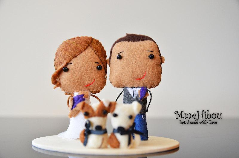 Mariage - CUSTOM WEDDING TOPPER - Wedding Decor - Felt Wedding Cake Topper - Bride, Groom & Pets