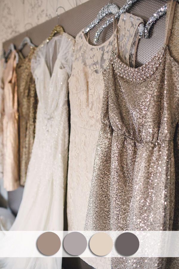 زفاف - Neutral Colors Inspired Sequins Bridesmaid Dress For Fall Wedding Ideas